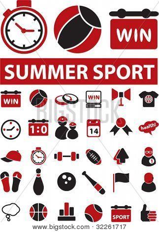 Sommer Sport Icons, Schilder, Vektor