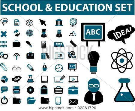 school & education & science icons, signs & vector illustrations