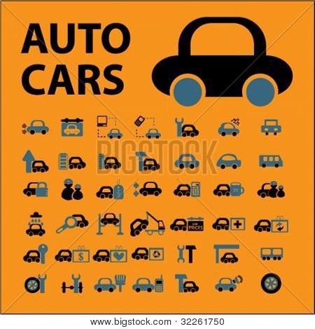 auto & cars, transport, logistics, services, icons, signs, vector illustrations