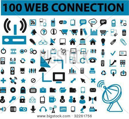 100 Web & Verbindung, Kommunikation Zeichen, Symbole, Vektorzeichnungen