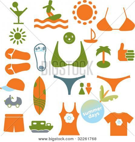 summer travel, tourism, lifestyle icons, signs, vector illustrations