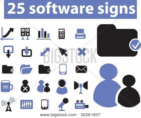 25 software signs & icons, vector