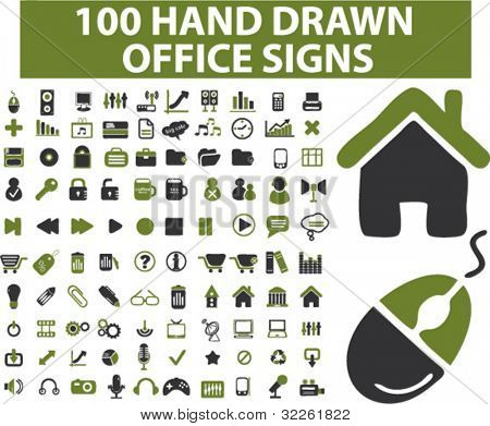 100 hand drawn office & business signs, vector