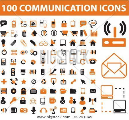 100 Kommunikation Icons, Vektor