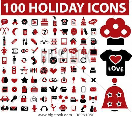 100 holiday icons, vector