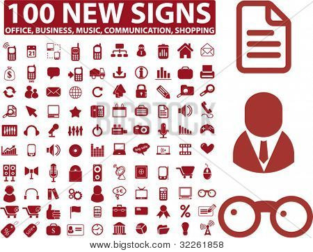 100 new signs, icons, office, business, finance, vector illustration