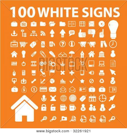 100 white business & standard icons, signs, vector illustrations