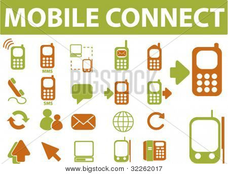 mobile connection signs, icons, symbols, vector