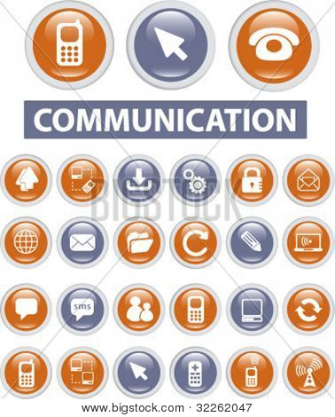 communication icons & buttons, vector