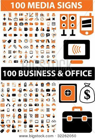 200 media & business & office icons, signs, vector