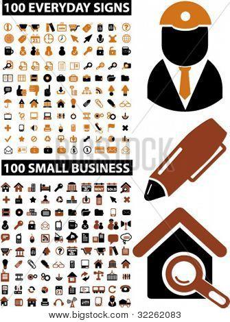200 small business & everyday icons, signs, vector illustrations