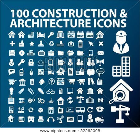100 construction & architecture icons, signs, vector illustrations
