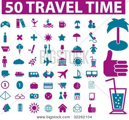 50 travel & tourism icons, signs, vector illustrations