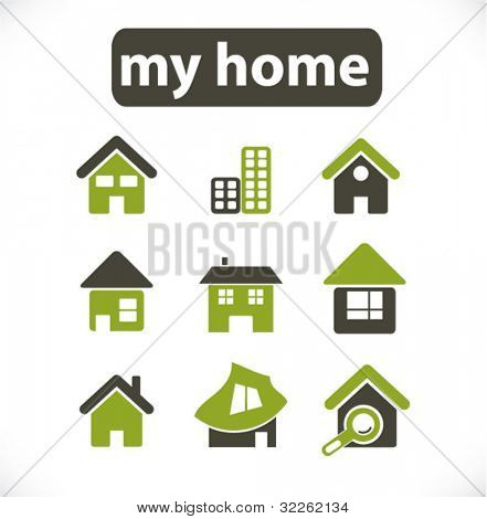 home & house & buildings icons, signs, vector illustrations