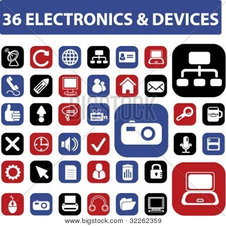 36 electronics & devices, icons, signs, vector illustrations
