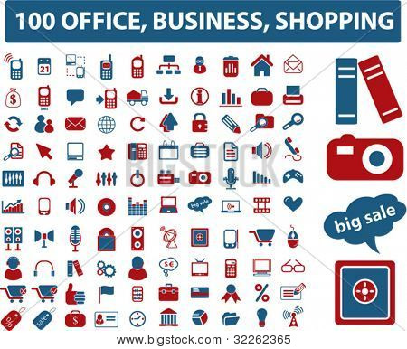 100 office, media, shopping, icons, signs vector