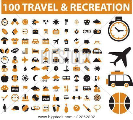 100 reizen & recreatie iconen, tekenen, vector illustraties