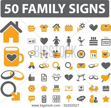 50 family icons, signs, vector illustrations