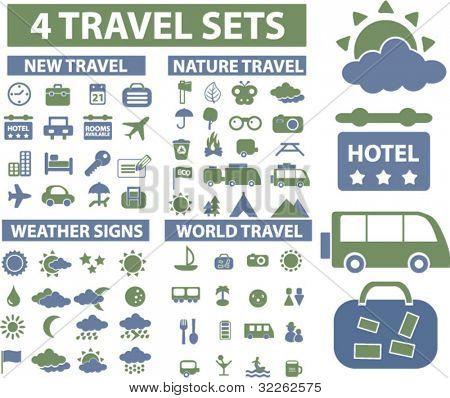 4 viajes conjuntos de iconos, signos, ilustraciones vectoriales