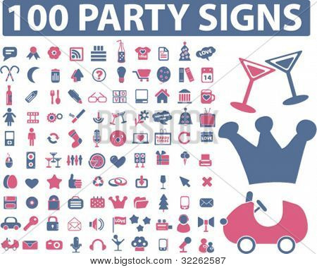 100 party icons, signs, vector illustrations
