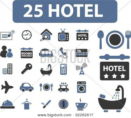25 hotel icons, signs, vector illustrations