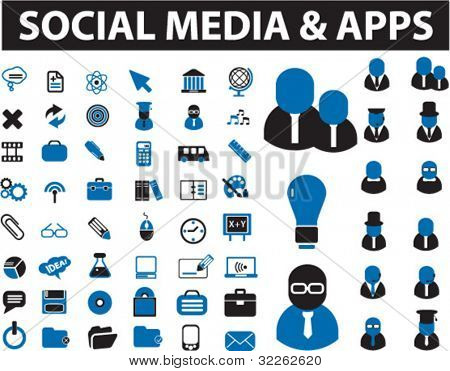 social media & apps icons, signs, vector illustrations