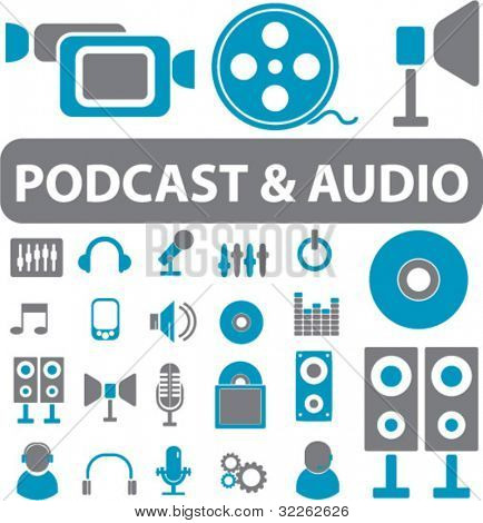 podcast & audio signs, icons, vector illustrations