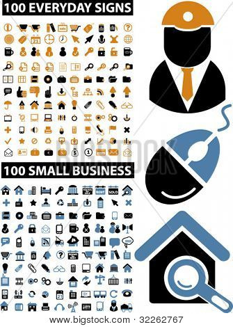 200 everyday & small business icons, signs, vector illustrations