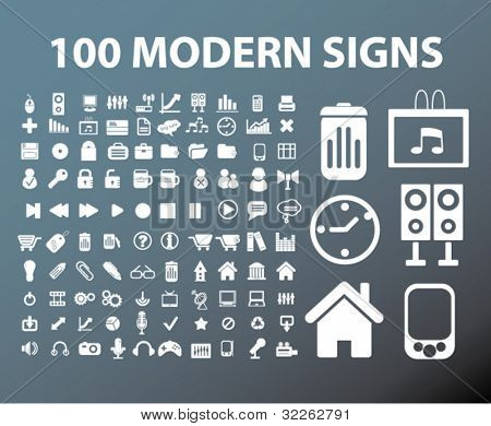 100 modern office signs, vector