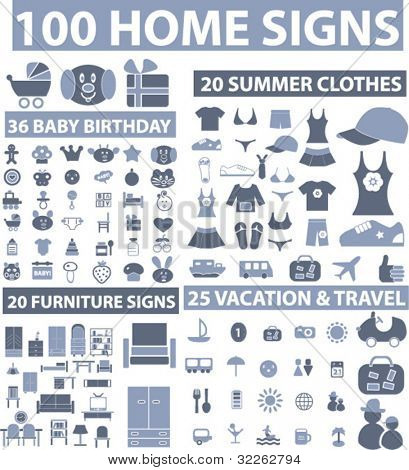 100 home icons, signs, vector