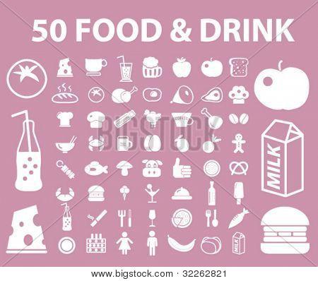 50 iconos de alimentos & bebida, signos, vector