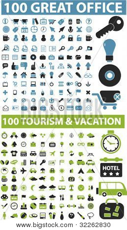 200 great office & travel & vacation icons, signs, vector