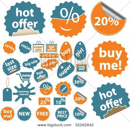 orange-blue cute stickers icons, signs, vector