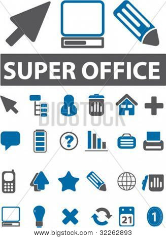 super office icons, signs, vector illustrations