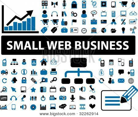 small web business icons, signs, vector