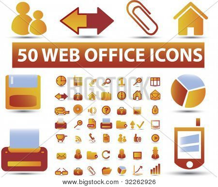 50 web office icons, signs, vector