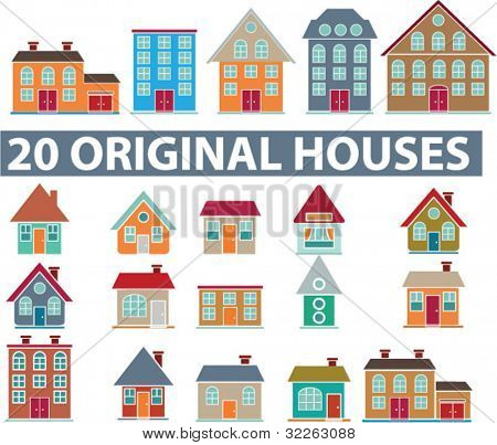 20 original houses, icons, signs, vector illustrations