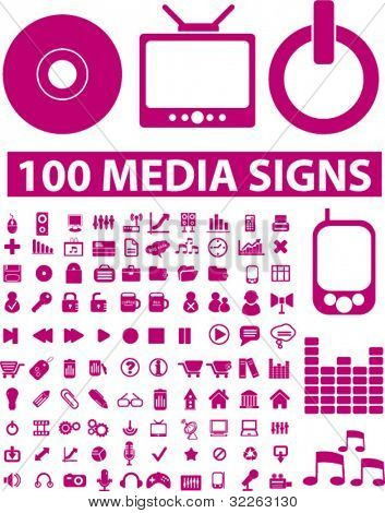 100 pink media icons, signs, vector illustrations