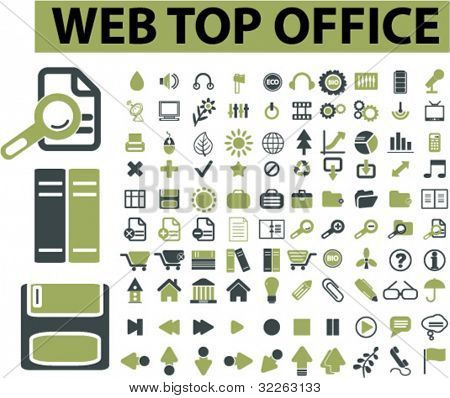 web top office icons, signs, vector illustrations