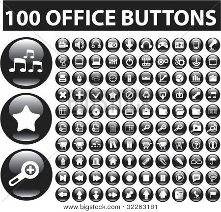 100 office glossy buttons, vector