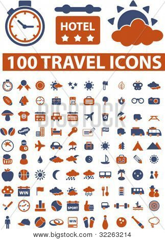 100  travel signs, icons, vector
