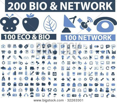 200 bio & network icons, signs, vector