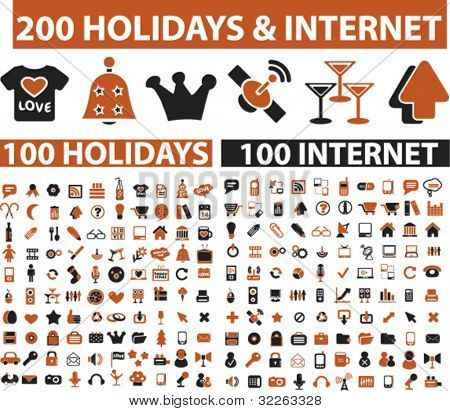 200 holidays & internet icons, signs, vector illustrations