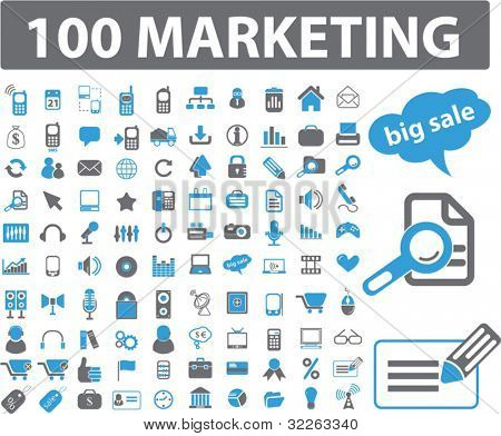 100 iconos, signos, vector de marketing
