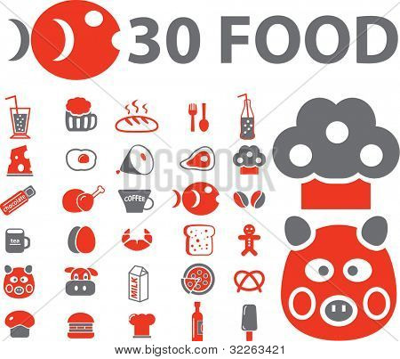 30 food icons, signs, vector illustrations