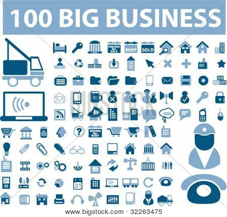 100 big business icons, signs, vector
