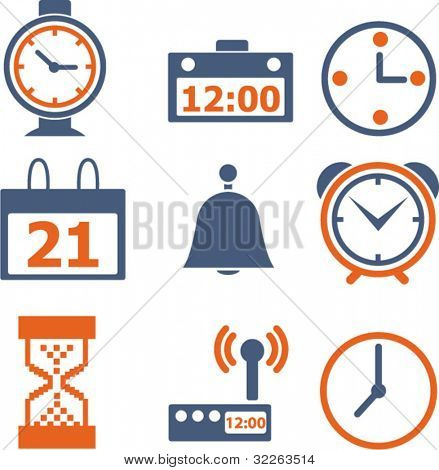 time & clock icons, signs, vector illustrations