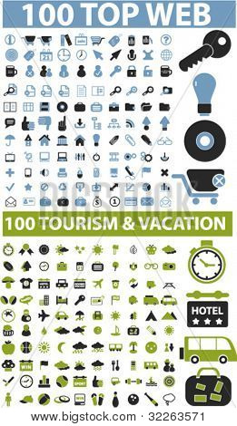 200 top web & travel signs, vector