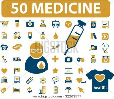 50 medicine icons, signs, vector
