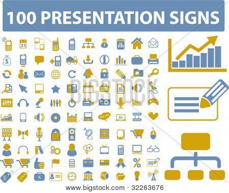 100 presentation icons, signs, vector illustration